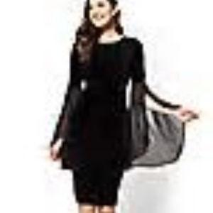NY&Co Statement Sleeve Black XL Velour Dress